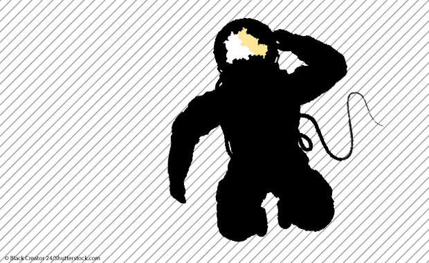 Illustration: Astronaut mit Berlin-Karte im Visir